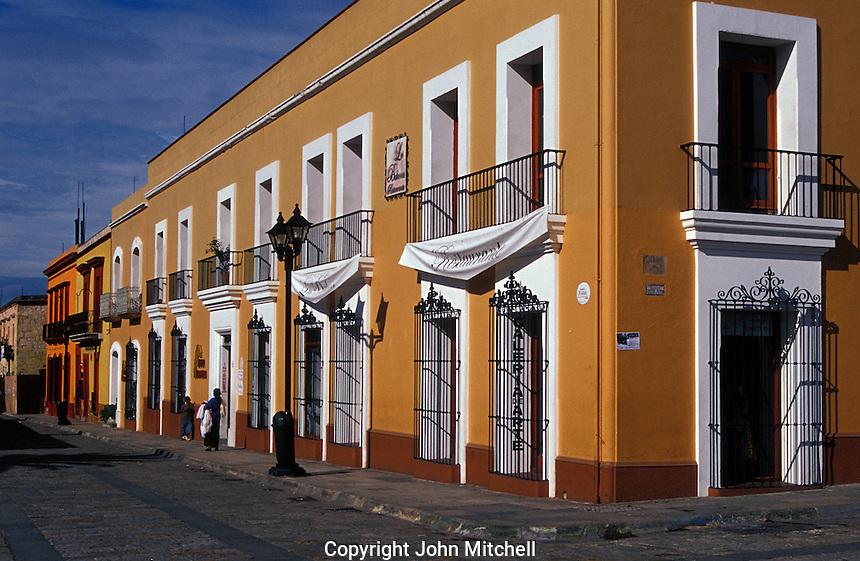 Restored Spanish colonial buildings lining the Andador de Macedonio Alcala pedestrian walkway, Oaxaca city, Mexico