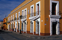 Restored Spanish colonial buildings lining the Andador de Macedonio Alcala pedestrian walkway, Oaxaca city, Mexico
