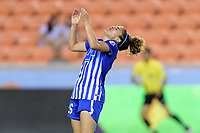 Houston, TX - Wednesday June 28, 2017: Angela Salem reacts to missing a shot at Houston's goal during a regular season National Women's Soccer League (NWSL) match between the Houston Dash and the Boston Breakers at BBVA Compass Stadium.