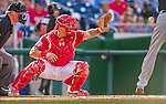 19 September 2015: Washington Nationals catcher Wilson Ramos in action against the Miami Marlins at Nationals Park in Washington, DC. The Nationals defeated the Marlins 5-2 in the third game of their 4-game series. Mandatory Credit: Ed Wolfstein Photo *** RAW (NEF) Image File Available ***