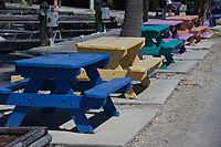 Colorful Painted Picnic Tables, Fiesta Key, Florida