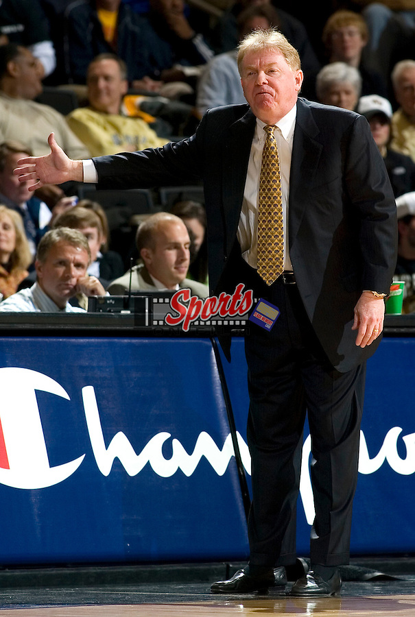 Wake Forest head coach Skip Prosser calls out a play during second half action versus Georgia Tech at the LJVM Coliseum in Winston-Salem, NC, Tuesday, January 30, 2007.  The Demon Deacons defeated the Yellow Jackets by the score of 85-75.