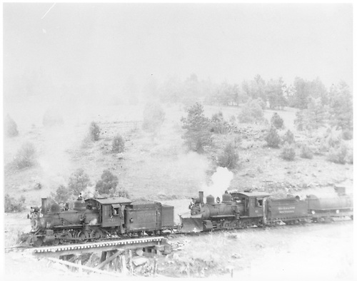 RGS #20 and #41 crossing Bridge 157-F with a freight at Porter.<br /> RGS  Porter, CO