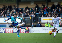 Dominic Gape of Wycombe Wanderers during the Sky Bet League 2 match between Wycombe Wanderers and Luton Town at Adams Park, High Wycombe, England on the 21st January 2017. Photo by Liam McAvoy.