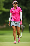 Lexi Thompson reacts after missing her putt on the 2nd green at the LPGA Championship 2014 Sponsored By Wegmans at Monroe Golf Club in Pittsford, New York on August 16, 2014