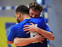 AFF players celebrate winning the 2018 Futsal National League tournament final between Auckland FF and Southern Futsal at ASB Sports Centre in Wellington, New Zealand on Sunday, 9 December 2018. Photo: Dave Lintott / lintottphoto.co.nz