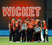 3rd February 2019, Optus Stadium, Perth, Australia; Australian Big Bash Cricket League, Perth Scorchers versus Melbourne Stars; Perth Scorchers players gather together after the wicket of Peter Handscomb of the Melbourne Stars