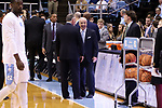CHAPEL HILL, NC - DECEMBER 20: UNC head coach Roy Williams talks with Wofford head coach Mike Young before the game. The University of North Carolina Tar Heels hosted the Wofford College Terriers on December 20, 2017 at Dean E. Smith Center in Chapel Hill, NC in a Division I men's college basketball game. Wofford won the game, upsetting UNC, 79-75.