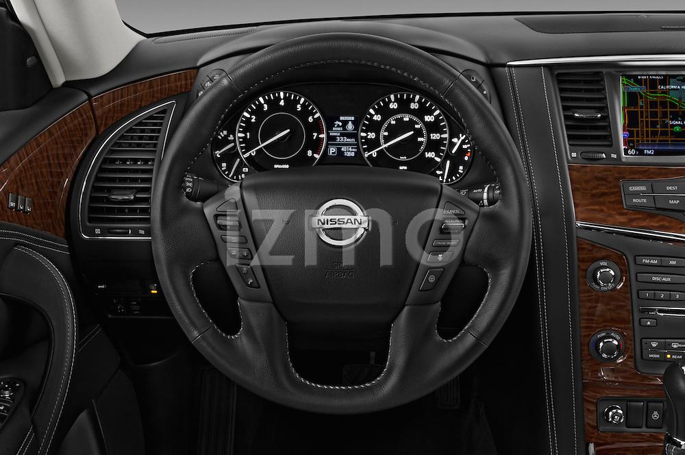 Car pictures of steering wheel view of a 2018 Nissan Armada Platinum 5 Door SUV Steering Wheel