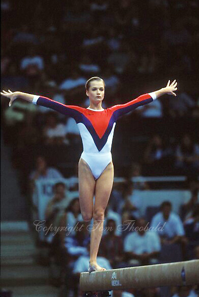 July 19, 1998; New York, NY, USA; Artistic gymnast Svetlana Khorkina of Russia performs balance beam at 1998  Goodwill Games New York. Copyright 1998 Tom Theobald