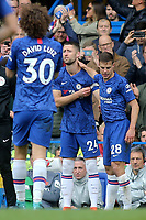 Chelsea's Cesar Azpilicueta gives Gary Cahill the captains's armband as he comes on as a second half substitute to replace David Luiz during Chelsea vs Watford, Premier League Football at Stamford Bridge on 5th May 2019