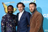 """LOS ANGELES - MAR 6:  David Oyelowo, Nash Edgerton, Joel Edgerton at the """"Gringo"""" Premiere at Regal LA Live on March 6, 2018 in Los Angeles, CA"""