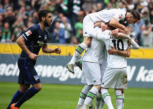 03.04.2016. Monchengladbach, Germany.  Bundesliga Football. Borussia Monchengladbach versus Hertha Berlin.  Granite Xhaka Moenchengladbach jumps on the Scorer for 1-0 Thorgan Hazard