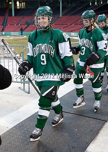 Jessica Gagner (Dartmouth - 9), Ali Winkel (Dartmouth - 3) - The Dartmouth College Big Green defeated the Providence College Friars 3-2 on Tuesday, January 10, 2012, at Fenway Park in Boston, Massachusetts.