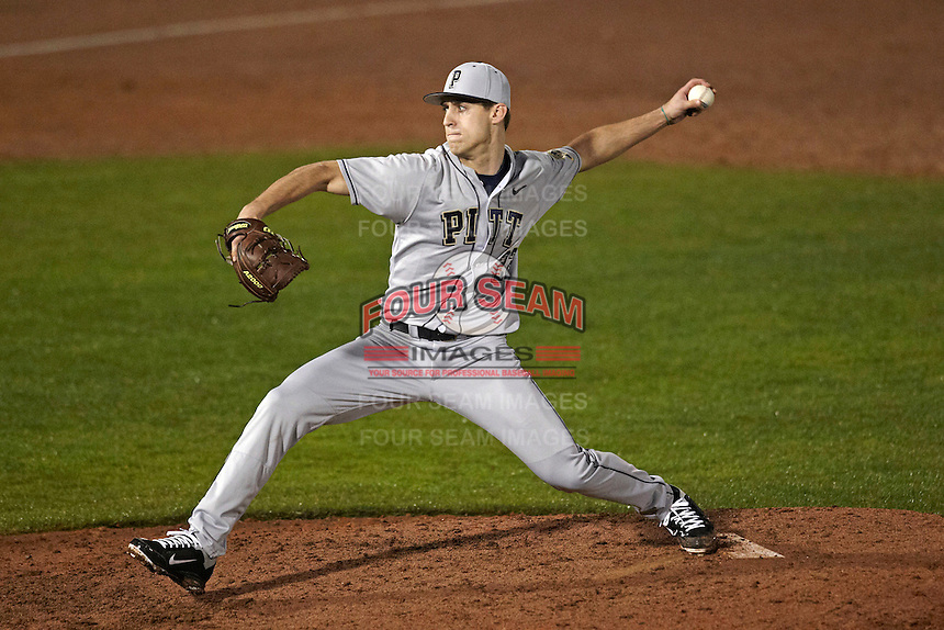 Pittsburgh Panthers pitcher Dave Yakopec #22 delivers a pitch during a game against the Michigan Wolverines at the Big Ten/Big East Challenge at Florida Auto Exchange Stadium on February 18, 2012 in Dunedin, Florida.  (Mike Janes/Four Seam Images)