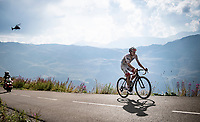 Tadej Pogačar (SVK/UAE-Emirates) up the finish climb & the highest peak of the 2020 #TdF: the Col de la Loze (HC/2304m/21,5km @7,8%)<br /> <br /> Stage 17 from Grenoble to Méribel - Col de la Loze (170km)<br /> <br /> 107th Tour de France 2020 (2.UWT)<br /> (the 'postponed edition' held in september)<br /> <br /> ©kramon