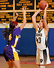 Sydney Rosenoff #43 of Commack, right, looks to make a pass during a Suffolk Shootout tournament game against Central Islip at Northport High School on Thursday, Dec. 28, 2017. She scored eight points in the third quarter. Commack won by a score of 58-34.
