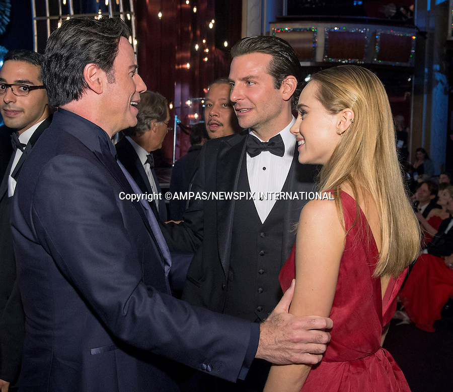 22.02.2015; Hollywood, California: 87TH OSCARS - BRADLEY COOPER and SUKI WATERHOUSE with JOHN TRAVOLTA<br /> during the Annual Academy Awards Telecast, Dolby Theatre, Hollywood.<br /> Mandatory Photo Credit: NEWSPIX INTERNATIONAL<br /> <br />               **ALL FEES PAYABLE TO: &quot;NEWSPIX INTERNATIONAL&quot;**<br /> <br /> PHOTO CREDIT MANDATORY!!: NEWSPIX INTERNATIONAL(Failure to credit will incur a surcharge of 100% of reproduction fees)<br /> <br /> IMMEDIATE CONFIRMATION OF USAGE REQUIRED:<br /> Newspix International, 31 Chinnery Hill, Bishop's Stortford, ENGLAND CM23 3PS<br /> Tel:+441279 324672  ; Fax: +441279656877<br /> Mobile:  0777568 1153<br /> e-mail: info@newspixinternational.co.uk