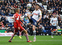 Preston North End's David Nugent under pressure from Barnsley's Jordan Williams<br /> <br /> Photographer Kevin Barnes/CameraSport<br /> <br /> The EFL Sky Bet Championship - Preston North End v Barnsley - Saturday 5th October 2019 - Deepdale Stadium - Preston<br /> <br /> World Copyright © 2019 CameraSport. All rights reserved. 43 Linden Ave. Countesthorpe. Leicester. England. LE8 5PG - Tel: +44 (0) 116 277 4147 - admin@camerasport.com - www.camerasport.com