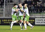 2015-10-31 /voetbal / seizoen 2015 - 2016 / Dessel Sport - KSK Heist / svbo / Nicolas Rommens (m) (Dessel Sport) heeft de 1-1 gemaakt en wordt gefeliciteerd door Jari Breugelmans (l) (Dessel Sport) en Seppe Brulmans (r) (Dessel Sport)