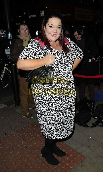"Lisa Riley  .The ""Burn The Floor"" press night, Shaftesbury Theatre,  London, England..March 11th, 2013.full length black dress bag purse white print.CAP/CAN.©Can Nguyen/Capital Pictures."