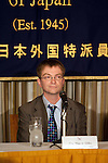 """April 1, 2011, Tokyo, Japan - Founder of the project, Our Man in Abiko, attends a press conference for the 2:46 Quakebook project. The Twitter-sourced #Quakebook project was created in one week by a group of journalists to raise money for the earthquake and tsunami victims. The 98-page book titled """"2:46: Aftershock: Stories from the Japan Earthquake"""" was launched by a Briton journalist turned blogger living in Tokyo who goes by the handle name """"Our Main in Abiko."""" People from all over the world have been contributing to this fundraising project including some well-known individuals such as artist Yoko Ono and has already received global attention from individuals, the media and large corporations willing make this project one of a kind. One hundred percent of the proceeds will be donated to the Japanese Red Cross Society. (Photo by Christopher Jue/AFLO) [2331]"""