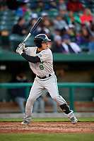 Clinton LumberKings second baseman Bryson Brigman (8) at bat during a game against the South Bend Cubs on May 5, 2017 at Four Winds Field in South Bend, Indiana.  South Bend defeated Clinton 7-6 in nineteen innings.  (Mike Janes/Four Seam Images)
