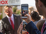 Senator Dean Heller meet with Heller campaign volunteers at the RNC field office in Reno, Thursday, Nov. 1, 2018.