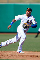 Mesa Solar Sox shortstop Javier Baez #6, of the Chicago Cubs organization, during an Arizona Fall League game against the Peoria Javelinas at HoHoKam Park on October 15, 2012 in Mesa, Arizona.  Peoria defeated Mesa 9-2.  (Mike Janes/Four Seam Images)