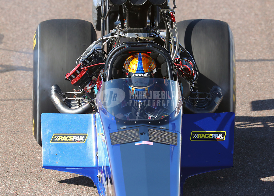Feb 23, 2019; Chandler, AZ, USA; NHRA top fuel driver Cameron Ferre during qualifying for the Arizona Nationals at Wild Horse Pass Motorsports Park. Mandatory Credit: Mark J. Rebilas-USA TODAY Sports