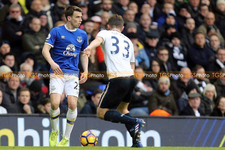 Seamus Coleman of Everton and Ben Davies of Tottenham Hotspur during Tottenham Hotspur vs Everton, Premier League Football at White Hart Lane on 5th March 2017