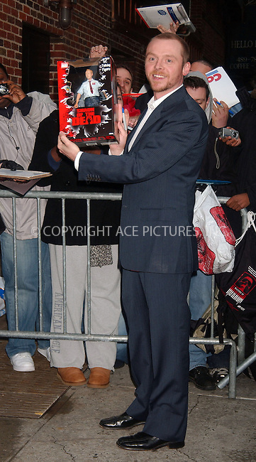 WWW.ACEPIXS.COM . . . . .....April 16 2007, New York City....British actor Simon Pegg arriving at 'The Late Show with David Letterman' at the Ed Sulivan Theatre in midtown Manhattan.  ....Please byline: Kristin Callahan - ACEPIXS.COM..... *** ***..Ace Pictures, Inc:  ..Philip Vaughan (646) 769 0430..e-mail: info@acepixs.com..web: http://www.acepixs.com