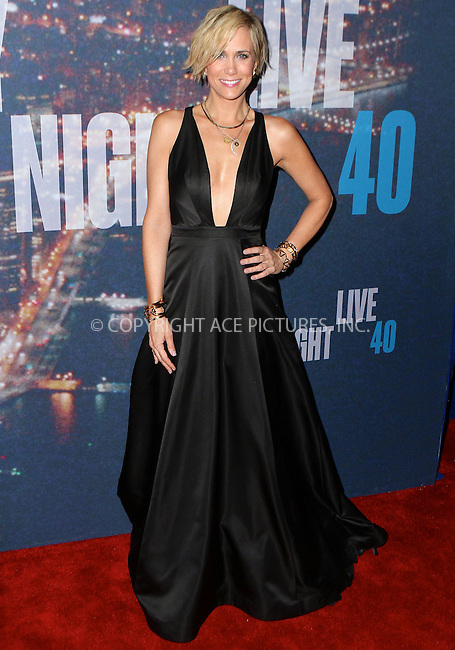 WWW.ACEPIXS.COM<br /> <br /> February 15 2015, New York City<br /> <br /> Kristen Wiig arriving at the SNL 40th Anniversary Special at the Rockefeller Plaza on February 15, 2015 in New York<br /> <br /> By Line: Nancy Rivera/ACE Pictures<br /> <br /> <br /> ACE Pictures, Inc.<br /> tel: 646 769 0430<br /> Email: info@acepixs.com<br /> www.acepixs.com
