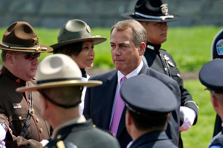 UNITED STATES - MAY 15: Speaker of the House John Boehner, R-Ohio, arrives at the 31st Annual National Peace Officers' Memorial Service on the West Front of the U.S. Capitol. (Pool Photo by Chris Maddaloni/CQ Roll Call)