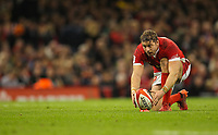 1st February 2020; Millennium Stadium, Cardiff, Glamorgan, Wales; International Rugby, Six Nations Rugby, Wales versus Italy; Leigh Halfpenny of Wales lines up the conversion