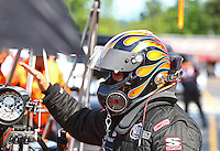 Aug. 1, 2014; Kent, WA, USA; NHRA top fuel dragster driver Mike Salinas during qualifying for the Northwest Nationals at Pacific Raceways. Mandatory Credit: Mark J. Rebilas-