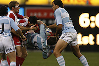 February 15 2009, San Diego, CA, USA:  The IRB USA Sevens Tournament at Petco Park in Downtown San Diego.  Argnetina number 4, Pablo Gomez Cora is tossed during the Tournament Final against England.  Argentina emerged as the tournament champions after two days of fast paced action in Downtown San Diego.