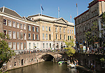People boating near the Stadhuis, Oudegracht canal, Utrecht, Netherlands