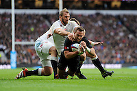Aaron Cruden of New Zealand is awarded a try despite the  later television replay calling it into doubt during the QBE International match between England and New Zealand at Twickenham Stadium on Saturday 8th November 2014 (Photo by Rob Munro)