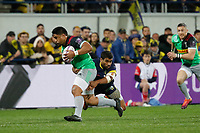 Ben Tapuai of Harlequins and Wesley Fofana of Clermont  during the Challenge Cup semi final match between ASM Clermont and Harlequins on April 20, 2019 in Clermont-Ferrand, France. (Photo by Romain Biard/Icon Sport)