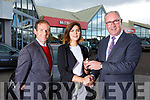 Siobhan Coakley from Gneeveguilla winner of the Ladies Day at the Listowel Races collecting the keys of her new car from McElligotts Oakpark from Donald Lynch (General Manager) and Martin Mullane (Sales) on Tuesday.
