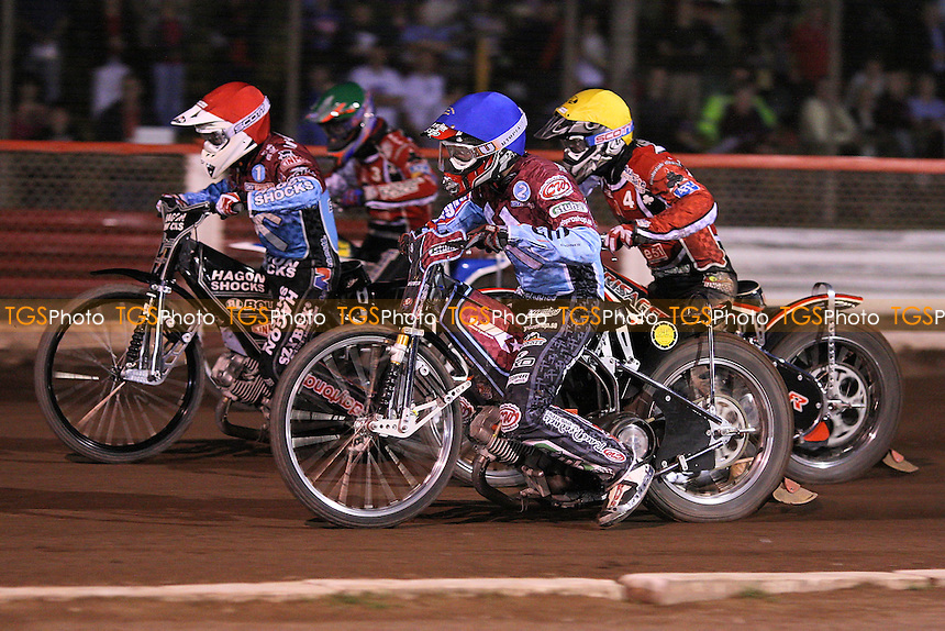 Heat 10: Lee Richardson (red), Joonas Kylmakorpi, Patrick Hougaard (green) and Morten Risager - Lakeside Hammers vs Belle Vue Aces - Sky Sports Elite League Speedway at Arena Essex Raceway, Purfleet, Essex - 14/08/09 - MANDATORY CREDIT: Gavin Ellis/TGSPHOTO - Self billing applies where appropriate - Tel: 0845 094 6026