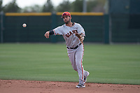 San Francisco Giants second baseman Kevin Rivera (15) makes a throw to first base during a Minor League Spring Training game against the Cleveland Indians at the San Francisco Giants Training Complex on March 14, 2018 in Scottsdale, Arizona. (Zachary Lucy/Four Seam Images)