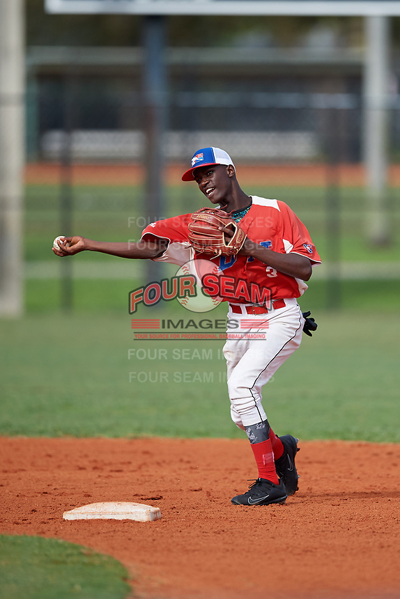 German Ramirez (3) during the Dominican Prospect League Elite Florida Event at Pompano Beach Baseball Park on October 15, 2019 in Pompano beach, Florida.  (Mike Janes/Four Seam Images)