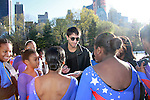 Evan Lysacek - American figure skaters 2010 Olympic Champion and more poses with the skaters with Figure Skating in Harlem - The 2012 Skating with the Stars  - a benefit gala for Figure Skating in Harlem celebrating 15 years on April 2, 2012 at Central Park's Wollman Rink, New York City, New York.  (Photo by Sue Coflin/Max Photos)