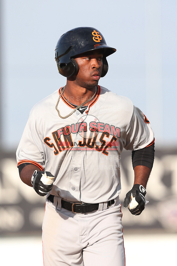 Chris Lofton #15 of the San Jose Giants during a game against the Lancaster JetHawks at The Hanger on May 3, 2014 in Lancaster, California. San Jose defeated Lancaster, 5-4. (Larry Goren/Four Seam Images)