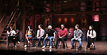 "Gabby Sorrentino, Johanna Moise, Marc delaCruz, Terrance Spencer, Deon'te Goodman, Thayne Jasperson and Lauren Boyd during the Q & A before The Rockefeller Foundation and The Gilder Lehrman Institute of American History sponsored High School student #EduHam matinee performance of ""Hamilton"" at the Richard Rodgers Theatre on 5/22/2019 in New York City."