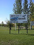 Sign welcoming bird watchers and hunters to the town of Nokomis, Saskatchewan, Canada
