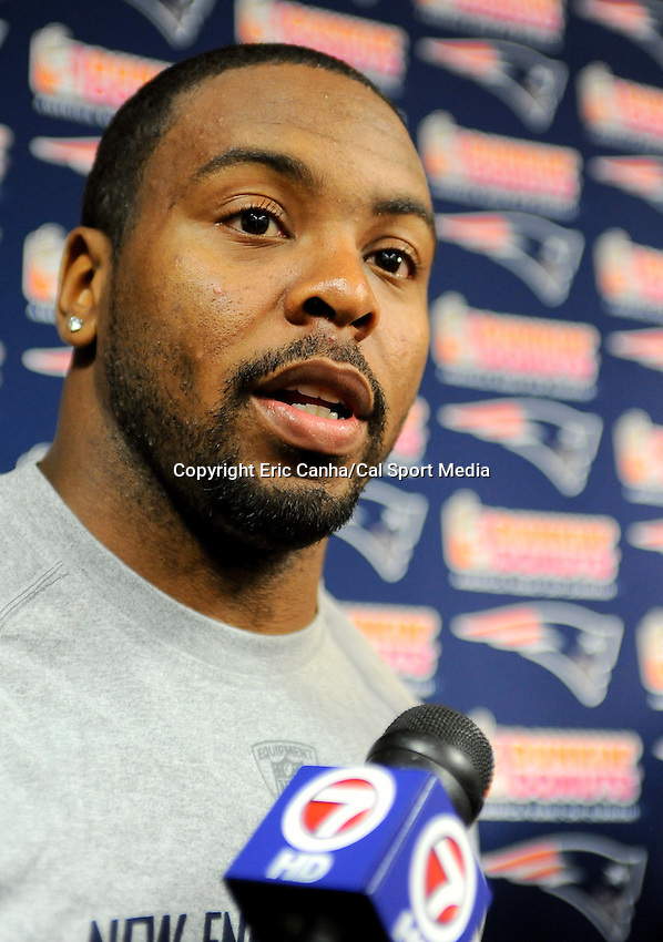 MAY 11 2012 New England Patriot Defensive Back Tavon Wilson #27 answers questions from the press during a break in Friday's mini camp at Gillette Stadium in Foxboro Massachusetts....Images are available for EDITORIAL LICENSE by visiting http://www.calsportmedia.com