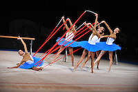 September 13, 2009; Mie, Japan;  Italian rhythmic group performs during gala after winning gold in group All Around at the 2009 World Championships Mie, Japan. Photo by Tom Theobald.